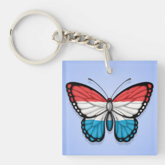 Luxembourg Butterfly Flag on Blue Keychain