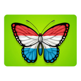 """Luxembourg Butterfly Flag on Green 5"""" X 7"""" Invitation Card"""