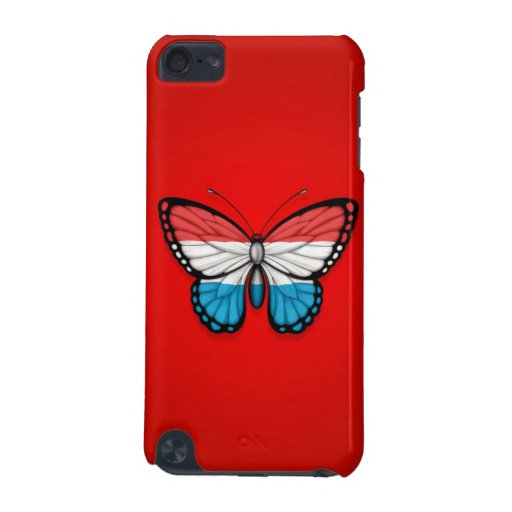 Luxembourg Butterfly Flag on Red iPod Touch (5th Generation) Covers