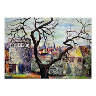 Luxembourg City - Psychedelic Plateau Du Rham Poster