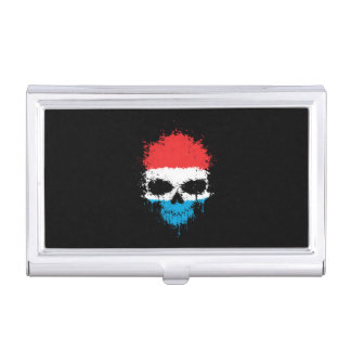 Luxembourg Dripping Splatter Skull Case For Business Cards