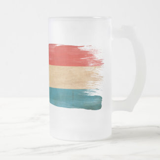 Luxembourg Flag Frosted Glass Beer Mug