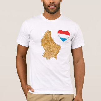 Luxembourg Flag Heart and Map T-Shirt