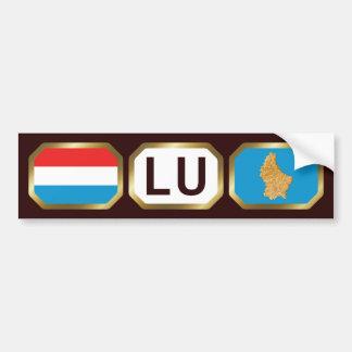 Luxembourg Flag Map Code Bumper Sticker Car Bumper Sticker