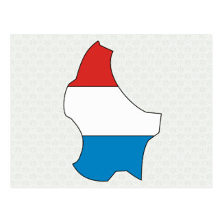 Luxembourg Flag Map full size Postcards