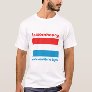 Luxembourg Flag + Map + Text T-Shirt