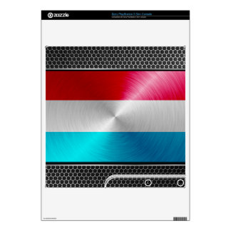 Luxembourg Flag; Metal-look Decal For PS3 Slim