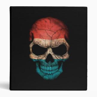 Luxembourg Flag Skull on Black Vinyl Binders