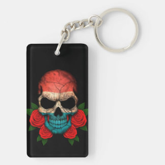 Luxembourg Flag Skull with Red Roses Keychain