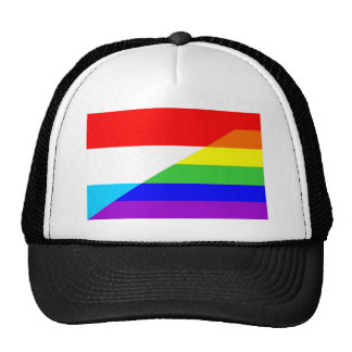 luxembourg gay proud rainbow flag homosexual trucker hat