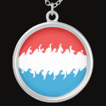 Luxembourg Gnarly Flag Silver Plated Necklace