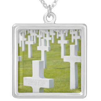 Luxembourg, Hamm. US Military Cemetery Square Pendant Necklace