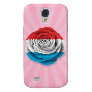 Luxembourg Rose Flag on Pink Samsung Galaxy S4 Case