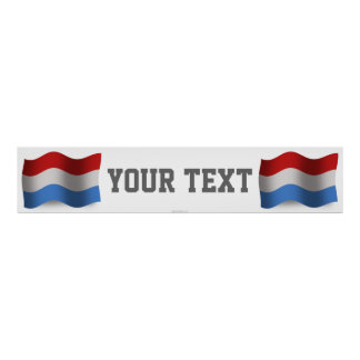 Luxembourg Waving Flag Banner Poster