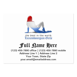 Luxembourgian Girl Silhouette Flag Business Cards