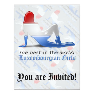 Luxembourgian Girl Silhouette Flag Card