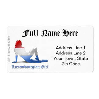 Luxembourgian Girl Silhouette Flag Label