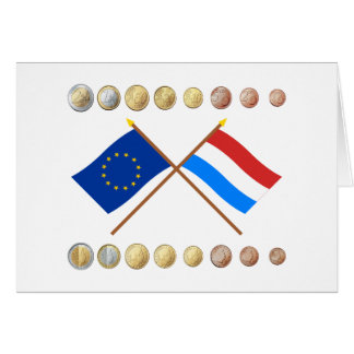 Luxembourgish Euros and EU & Luxembourg Flags Card