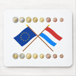 Luxembourgish Euros and EU & Luxembourg Flags Mouse Pad