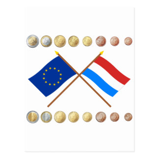Luxembourgish Euros and EU & Luxembourg Flags Postcard