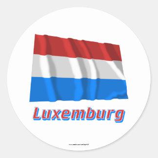 Luxemburg Fliegende Flagge mit Namen Round Stickers