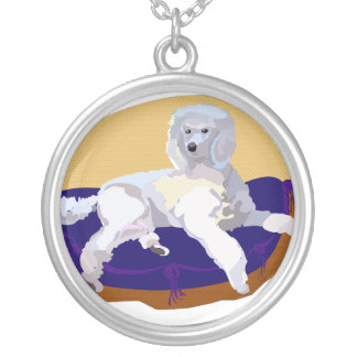 Luxery Poodle Round Pendant Necklace