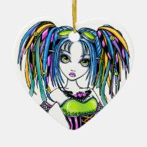 luxie, rainbow, cyber, goth, pop, glitter, fantasy, art, tattoos, leg, warmers, hula, hoop, preforming, cute, hair, falls, goggles, myka, jelina, big, eyed, faeries, Ornament with custom graphic design