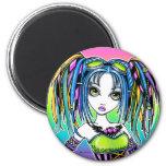 """Luxie"" Rainbow Cyber Goth Hula Hoop Fae Magnet"