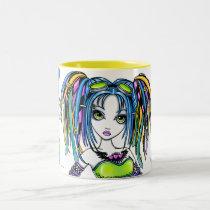 luxie, rainbow, cyber, goth, pop, glitter, fantasy, art, tattoos, leg, warmers, hula, hoop, preforming, cute, hair, falls, goggles, myka, jelina, big, eyed, performing arts, Mug with custom graphic design