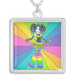 """Luxie"" Rainbow Cyber Goth Hula Hoop Fae Necklace"