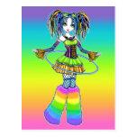 """Luxie"" Rainbow Cyber Goth Hula Hoop Fae Postcard"