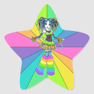 """Luxie"" Rainbow Cyber Goth Hula Hoop Fae Stickers"