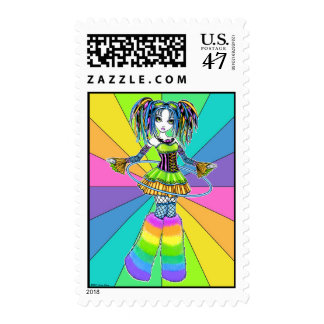 """Luxie"" Rainbow Cyber Goth Hula Hoop Fairy Postage"