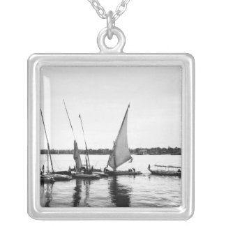 Luxor Egypt, Feluccas on the Nile 2 Square Pendant Necklace