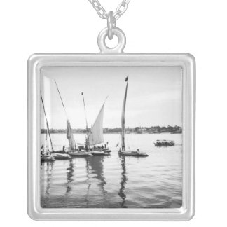 Luxor Egypt, Feluccas on the Nile Square Pendant Necklace