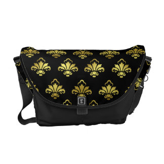 luxuries Custom Design Black and Gold Damask print Courier Bag