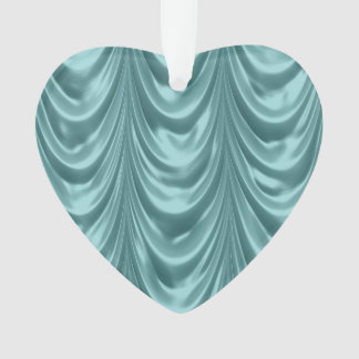 Luxurious Aqua Ruched Satin Scalloped Pattern Ornament