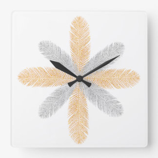 Luxurious black and golden feather walll clock