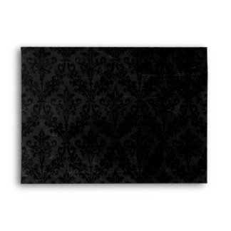 Luxurious Black Damask: Linen A-7 Envelope