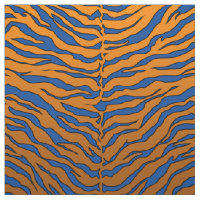 luxurious blue and orange animal Tiger print Fabric
