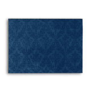 Luxurious Blue Damask: Custom Linen Wedding A-7 Envelope
