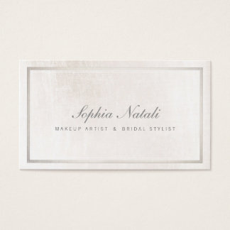 Luxurious Brushed White Marble and Silver Border Business Card