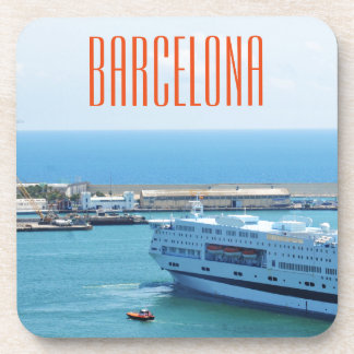 Luxurious cruise ship leaving Barcelona harbour Drink Coaster
