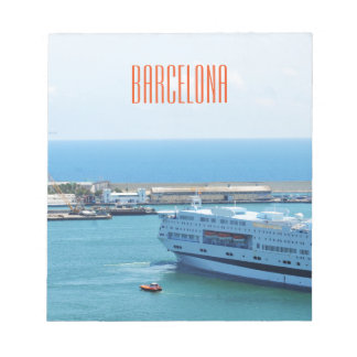 Luxurious cruise ship leaving Barcelona harbour Notepad