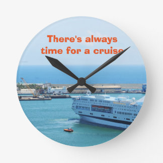Luxurious cruise ship leaving Barcelona harbour Round Clock