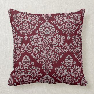 Luxurious Damask Pattern on Rich and Deep Burgundy Throw Pillow