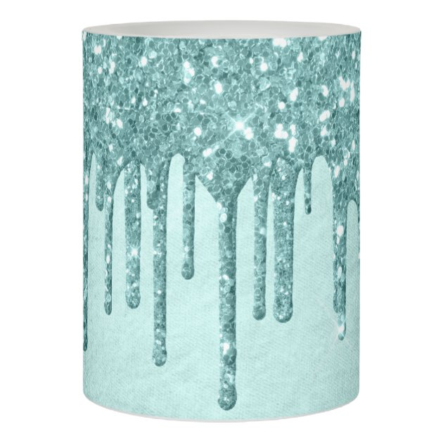 Luxurious Drip Decor Pastel Turquoise And Mint Flameless Candle Zazzle Com