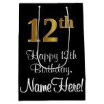 [ Thumbnail: Luxurious, Elegant, Faux Gold Look 12th Birthday Gift Bag ]