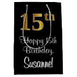 [ Thumbnail: Luxurious, Elegant, Faux Gold Look 15th Birthday Gift Bag ]