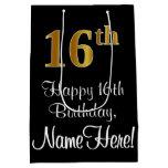 [ Thumbnail: Luxurious, Elegant, Faux Gold Look 16th Birthday Gift Bag ]